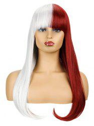 Two Tone Long Full Bang Straight Halloween Cosplay Synthetic Wig -