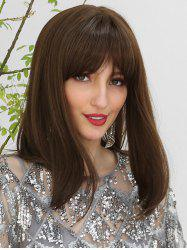 Straight See-through Bang Medium Human Hair Wig -