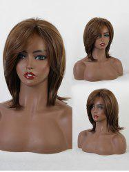 Mixed Fluffy Short Straight Side Part Synthetic Wig -