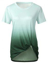 Twisted Front Ombre Round Neck Tee -
