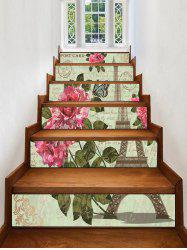 Eiffel Tower Flower Printed Removable Stair Stickers -