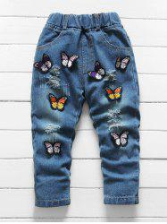 Girls Butterfly Applique Ripped Denim Pants -
