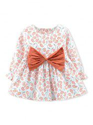 Girls Bowknot Floral Print Long Sleeve A Line Dress -