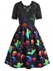 Plus Size Halloween Pumpkin Ghost Print Vintage Swing Dress -