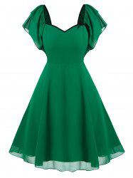 Plus Size Vintage Tiered Butterfly Sleeve Chiffon Dress -