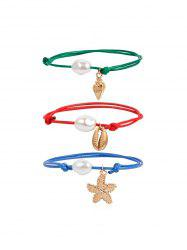 Artificial Pearl Starfish Conch Rope Bracelet Set -