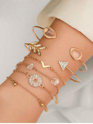 Rhinestone Artificial Opal Arrow Bracelet Set -