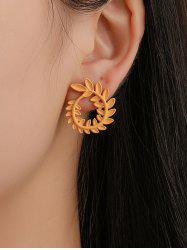 Metal Alloy Leaf Stud Earrings -