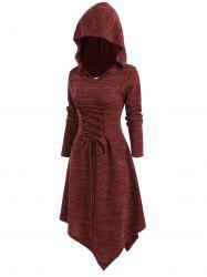 Lace Up Cut Out Asymmetric Hooded Dress -