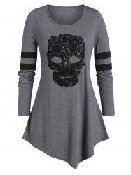Plus Size Skull Print Tunic Round Collar T Shirt -