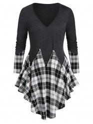 Plus Size Asymmetrical Plaid Long Sleeve Tunic Tee -