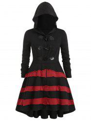 Plus Size Hooded Contrast Flounce Duffle Coat -