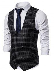 Casual Plaid Printed Double Breasted Waistcoat -