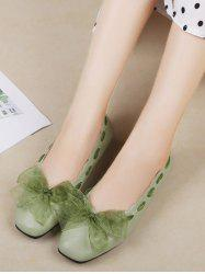 Sweet Bow Square Toe Flat Shoes -