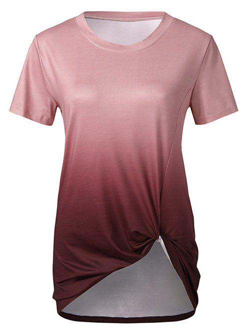 Chic Twisted Front Ombre Round Neck Tee