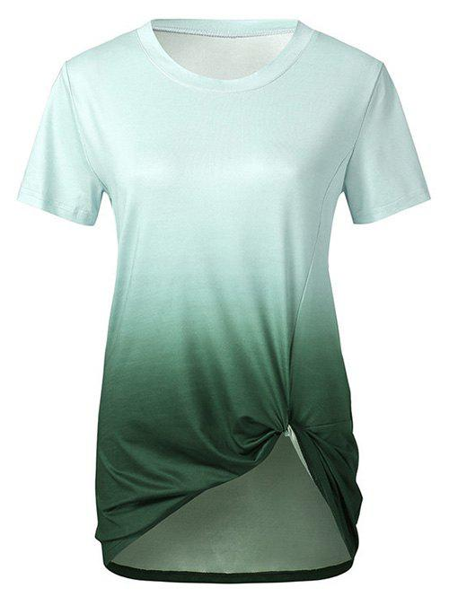 Store Twisted Front Ombre Round Neck Tee