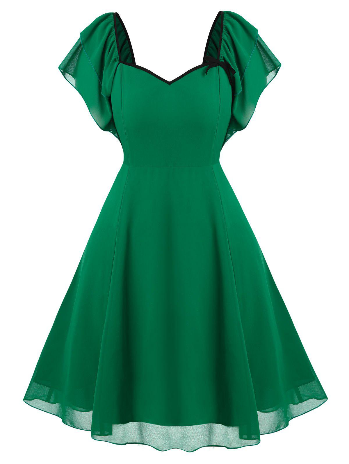 Outfit Plus Size Vintage Tiered Butterfly Sleeve Chiffon Dress