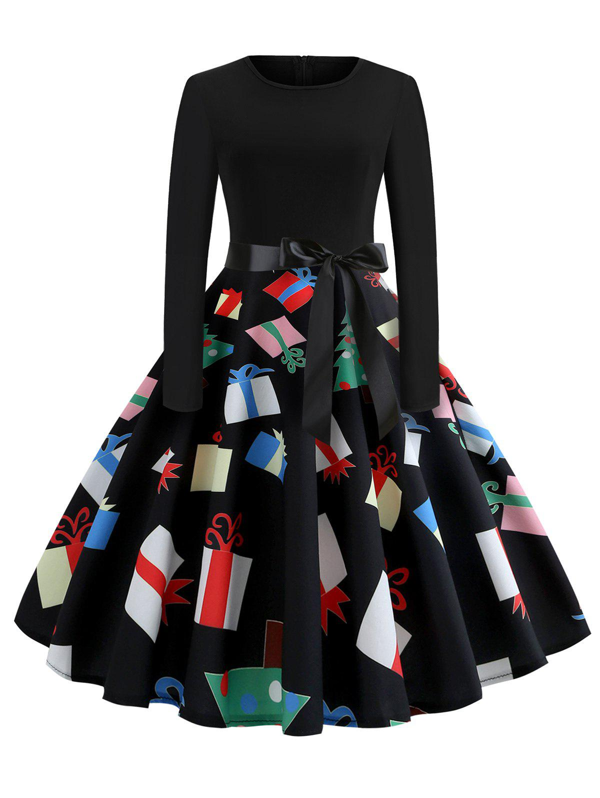 Chic Christmas Printed Fit and Flare Long Sleeve Dress
