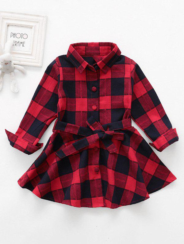 Best Girls Plaid Print Button Up Mini A Line Dress