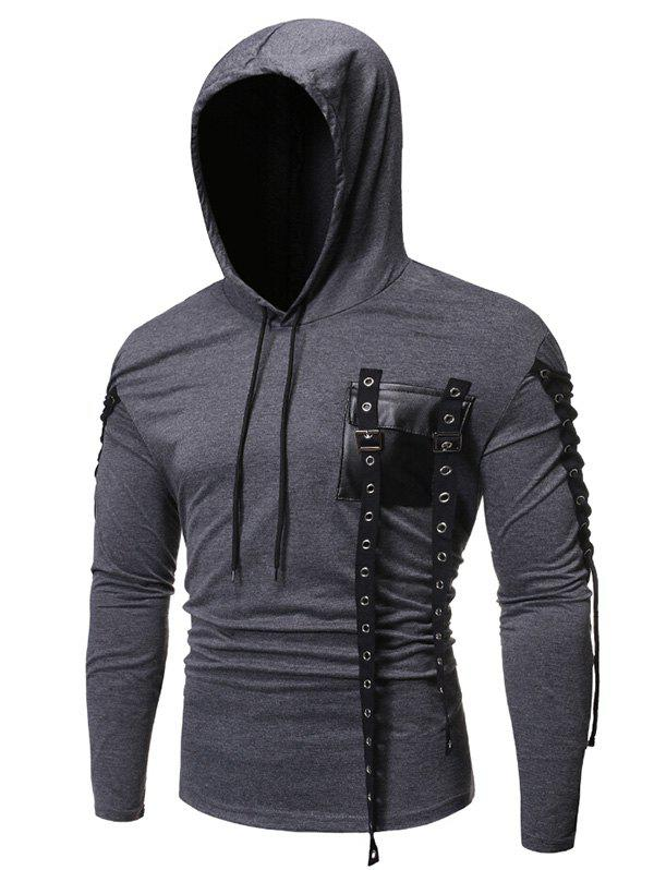 Fancy Gothic Grommet Lace Up Sleeve PU Chest Hoodie