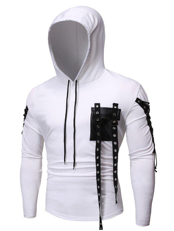 New Gothic Grommet Lace Up Sleeve PU Chest Hoodie