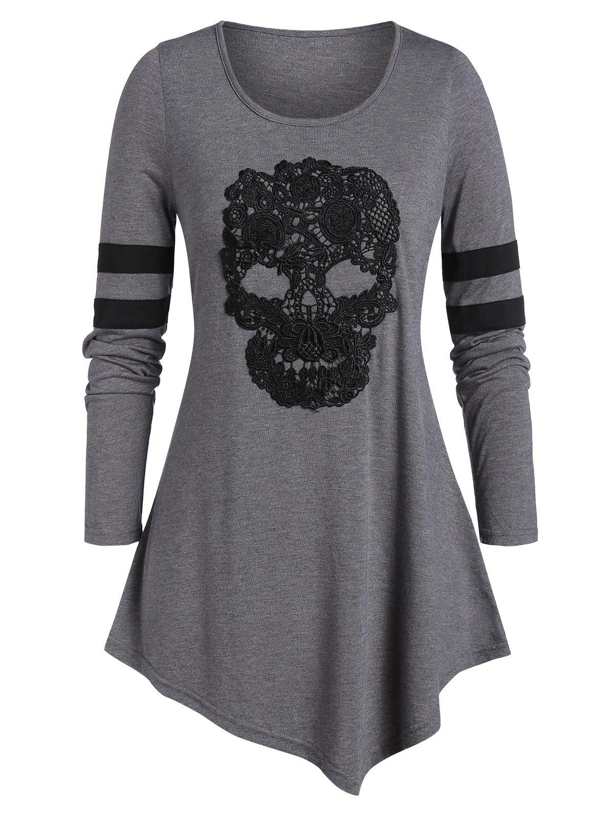 Hot Plus Size Skull Print Tunic Round Collar T Shirt
