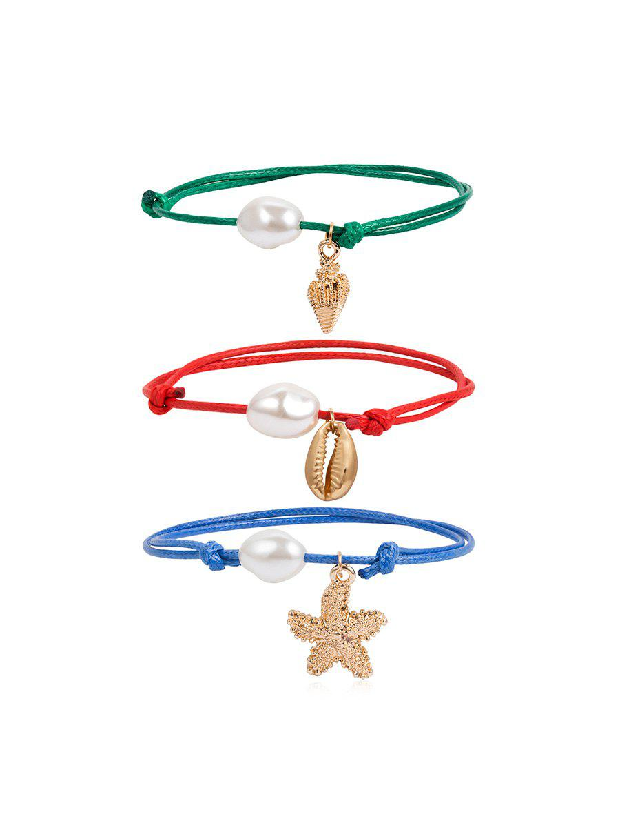 Fancy Artificial Pearl Starfish Conch Rope Bracelet Set