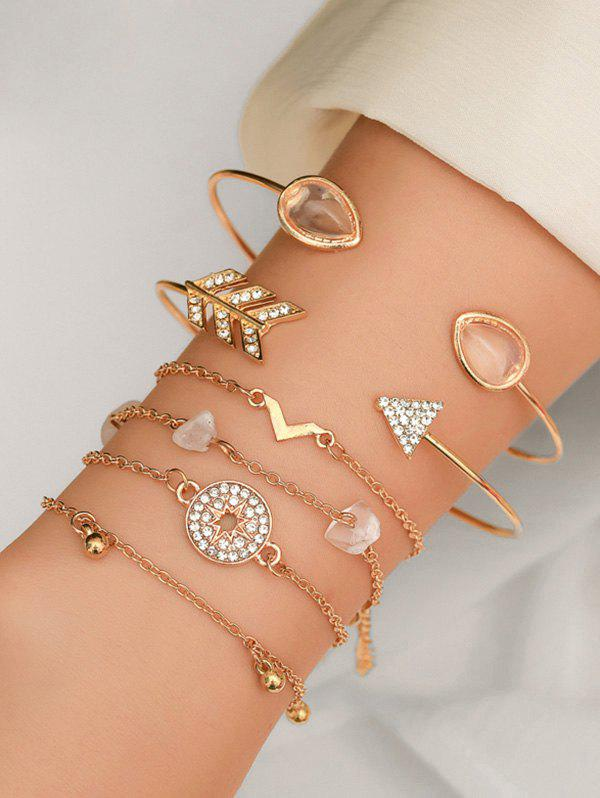 Unique Rhinestone Artificial Opal Arrow Bracelet Set