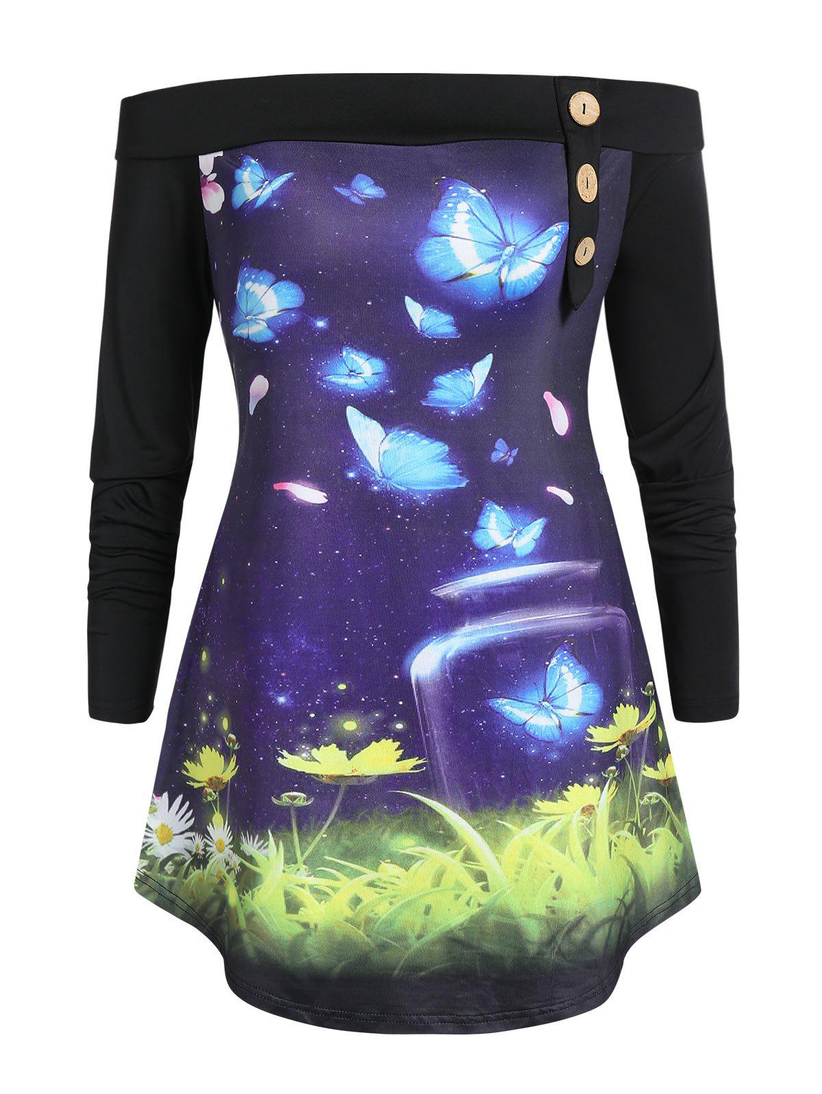 Plus Size Butterfly Print Off The Shoulder Tunic T Shirt фото