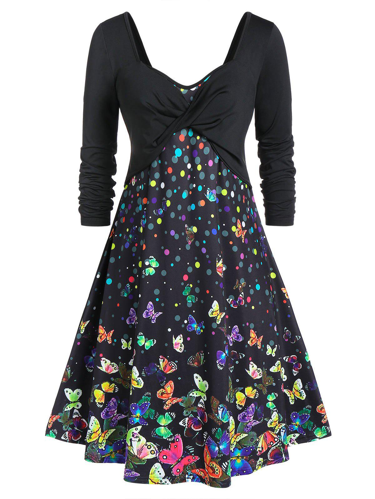 New Plus Size Butterfly Print Fit And Flare Long Sleeve Dress