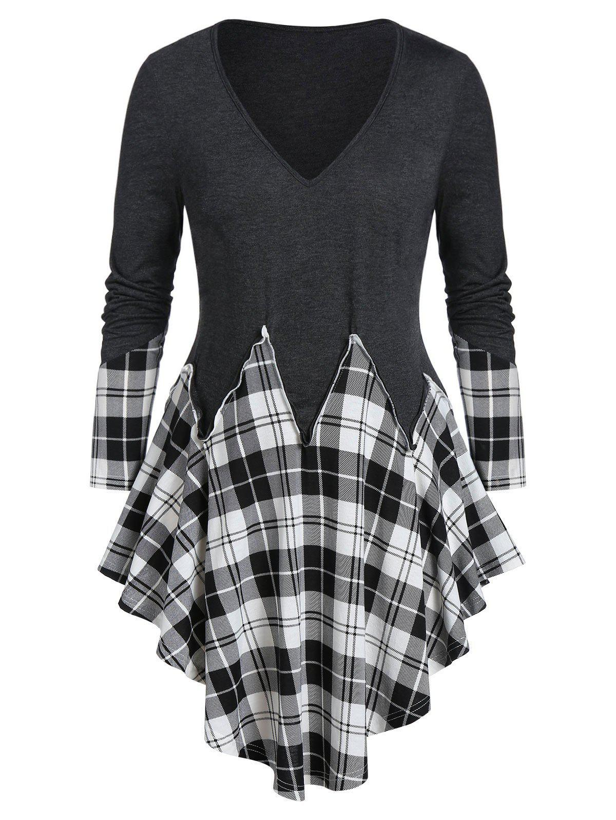 Trendy Plus Size Asymmetrical Plaid Long Sleeve Tunic Tee