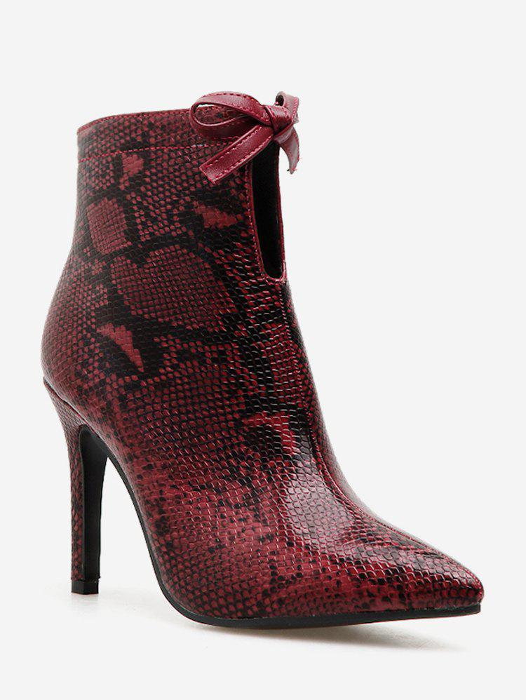 Cheap Bow Snakeskin Print Pointed Toe Ankle Boots