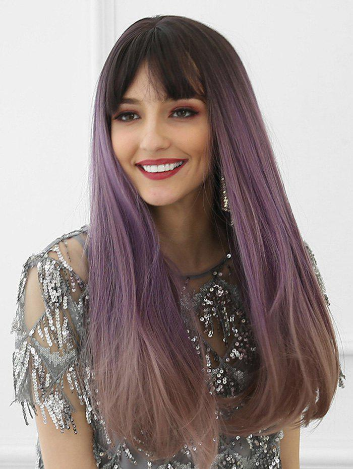 Unique Neat Bang Long Ombre Long Synthetic Wig