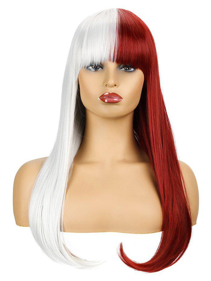 Chic Two Tone Long Full Bang Straight Halloween Cosplay Synthetic Wig