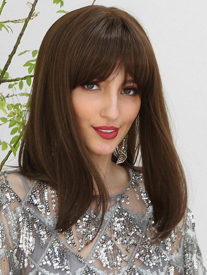 Store Straight See-through Bang Medium Human Hair Wig