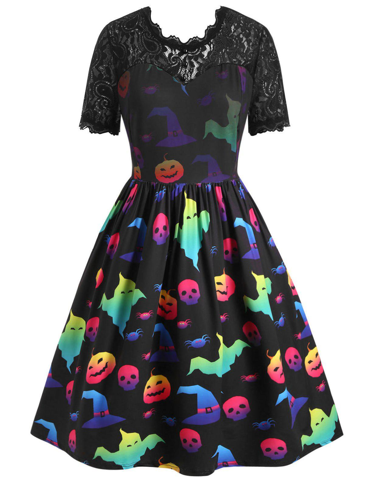 Fancy Plus Size Halloween Pumpkin Ghost Print Vintage Swing Dress