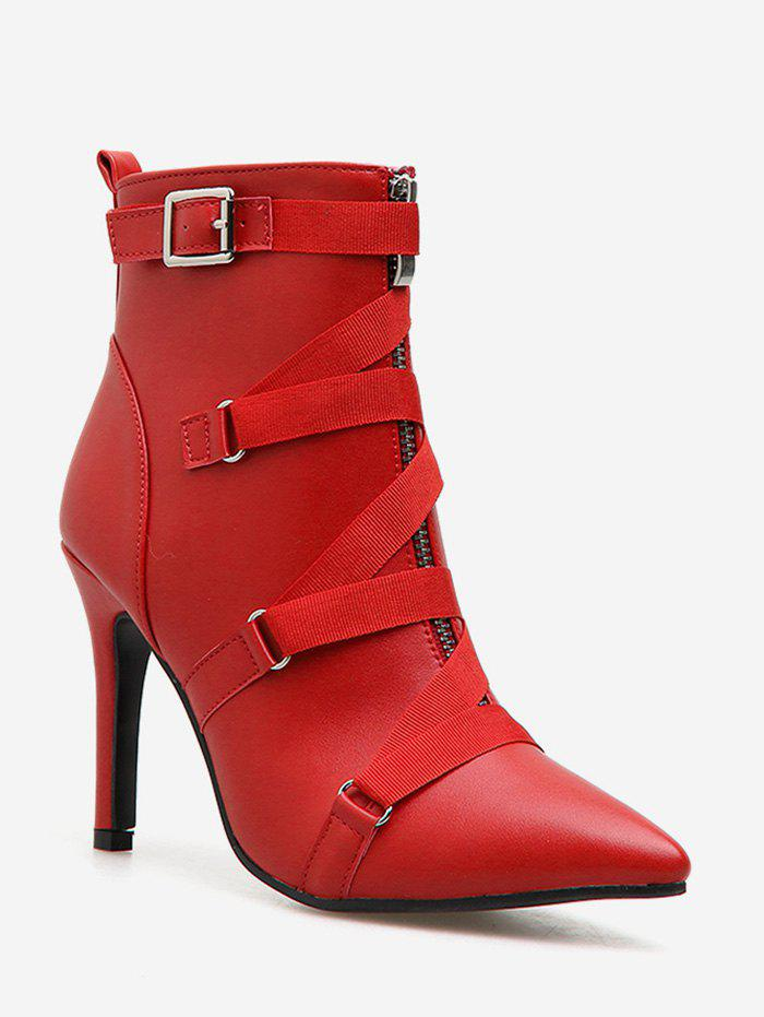 Fancy Strap Accent PU Leather Pointed Toe Boots