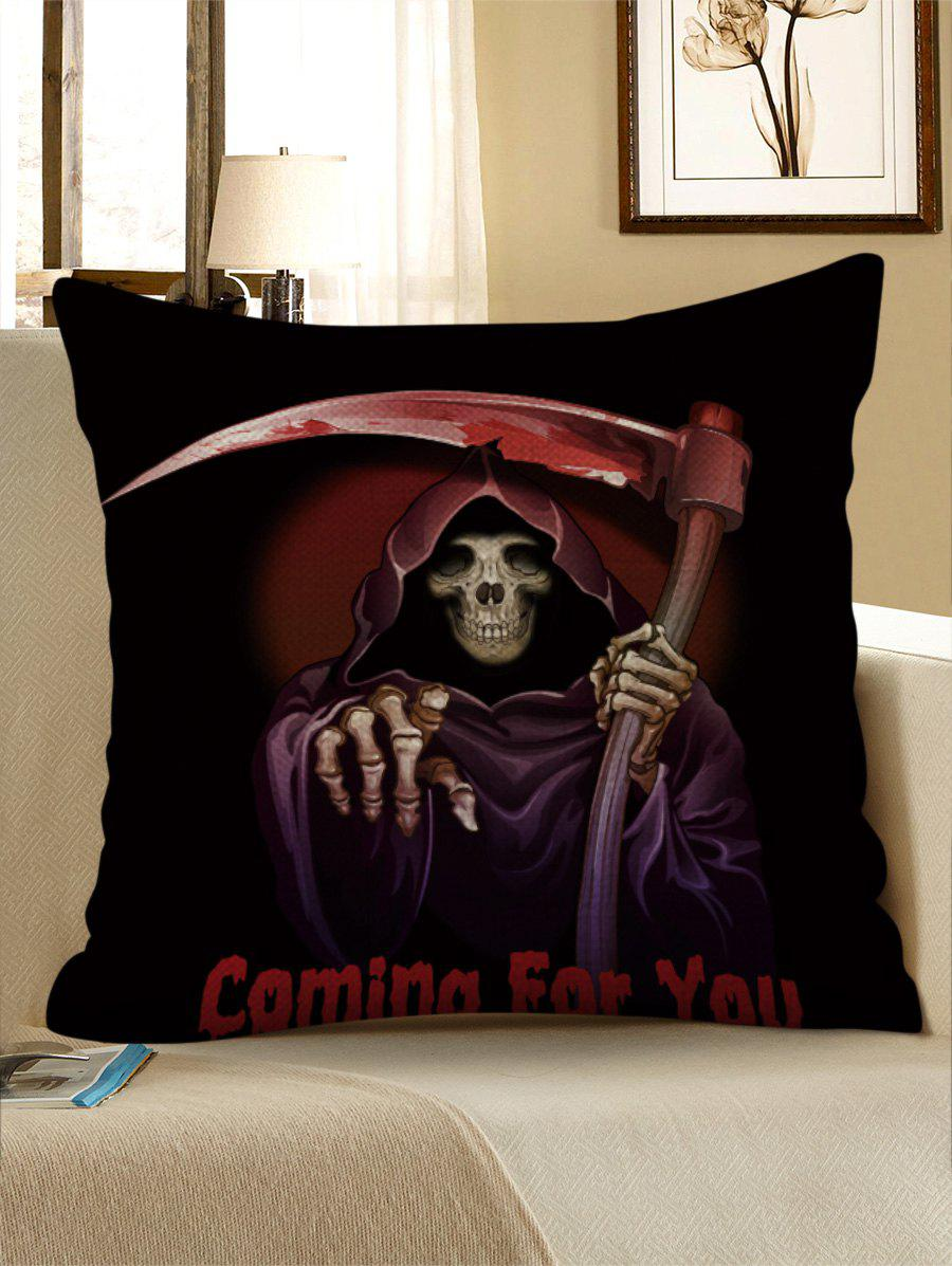 Halloween Death and Letters Print Decorative Pillowcase