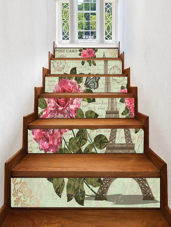 Fashion Eiffel Tower Flower Printed Removable Stair Stickers