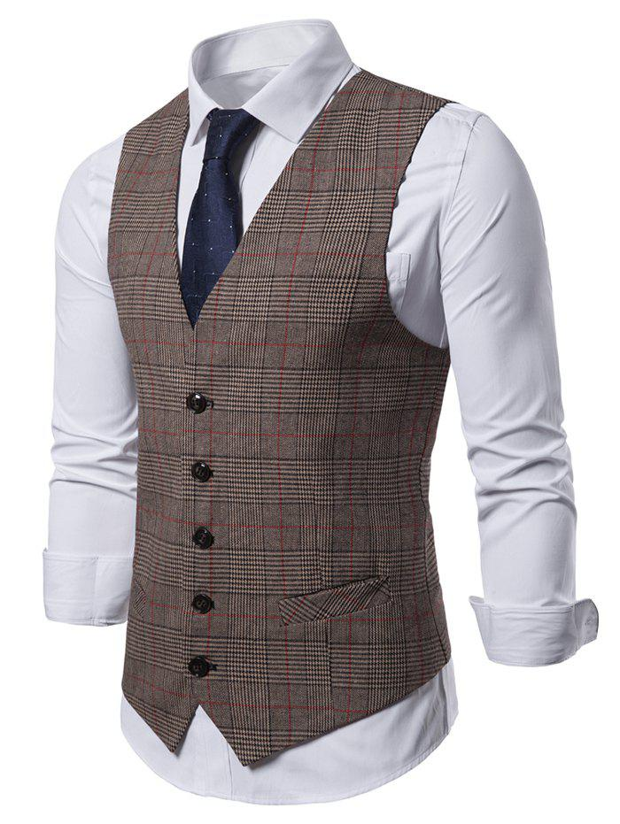 Cheap Plaid Pattern V-Neck Casual Waistcoat