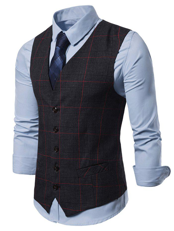 Outfits Plaid Pattern V-Neck Casual Waistcoat