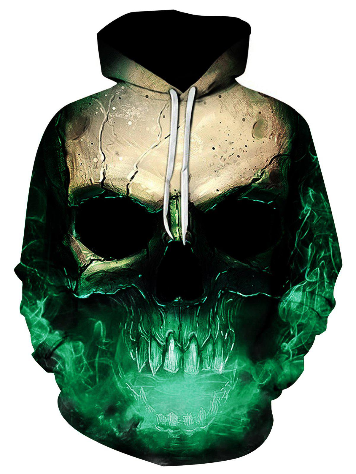 Latest 3D Skull Print Pocket Hoodie