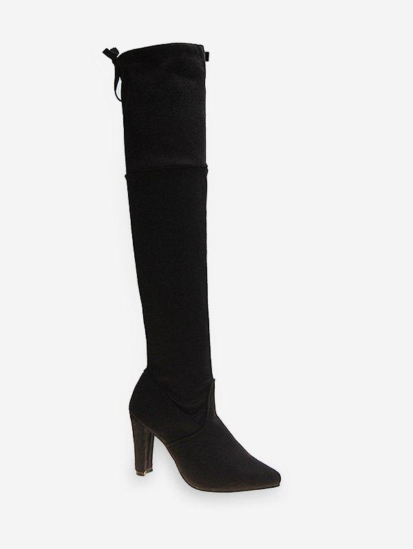 Sale Chunky Heel Thigh High Suede Boots