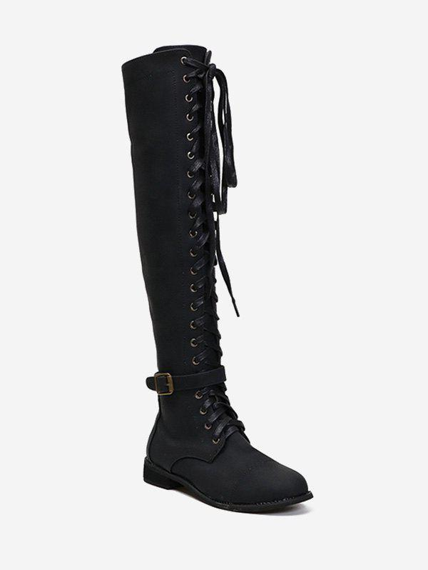 Discount Lace Up Buckle Accent Thigh High Boots