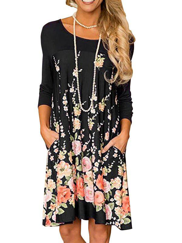 Trendy Floral Long Sleeve A Line Tunic Dress