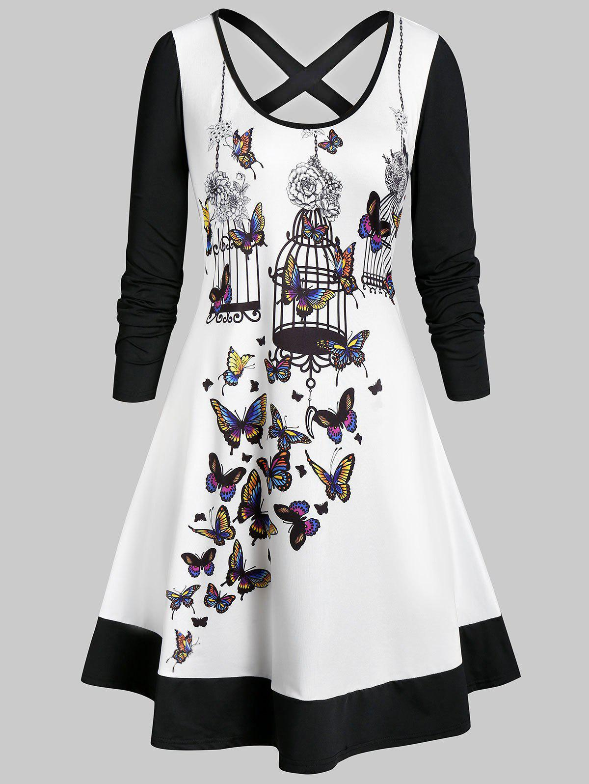 Discount Plus Size Criss Cross Butterfly Print Flare Dress