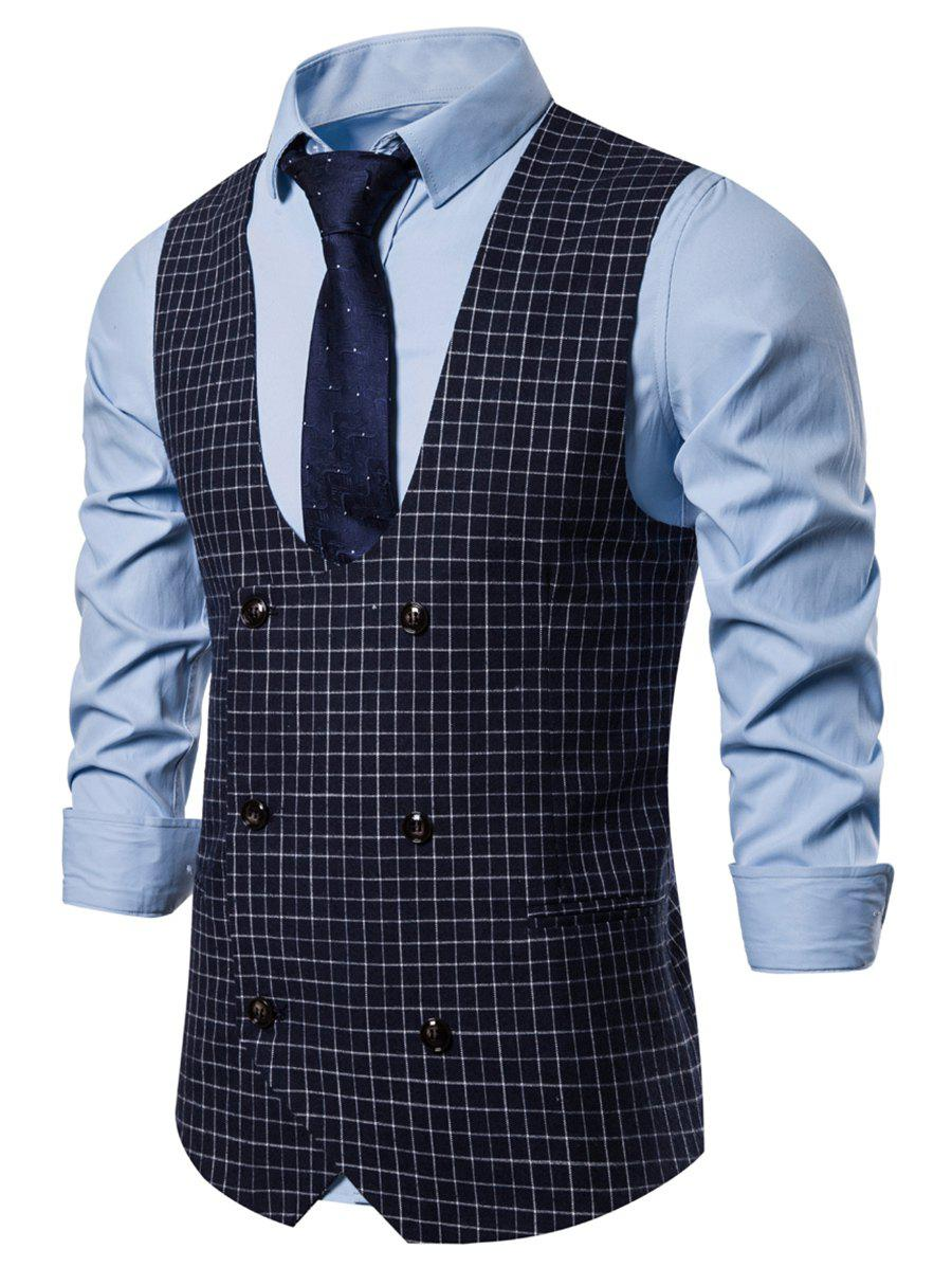 Buy Casual Plaid Printed Double Breasted Waistcoat
