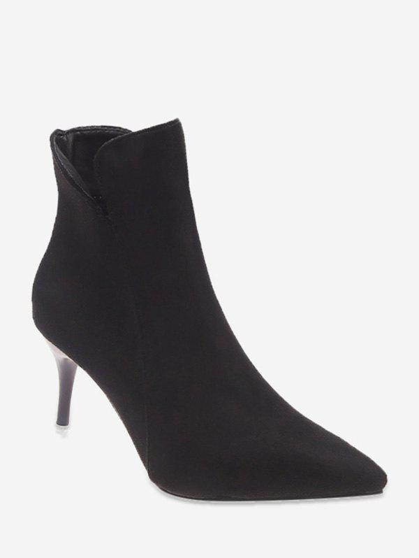 Fashion Plain Suede Mid Heel Ankle Boots
