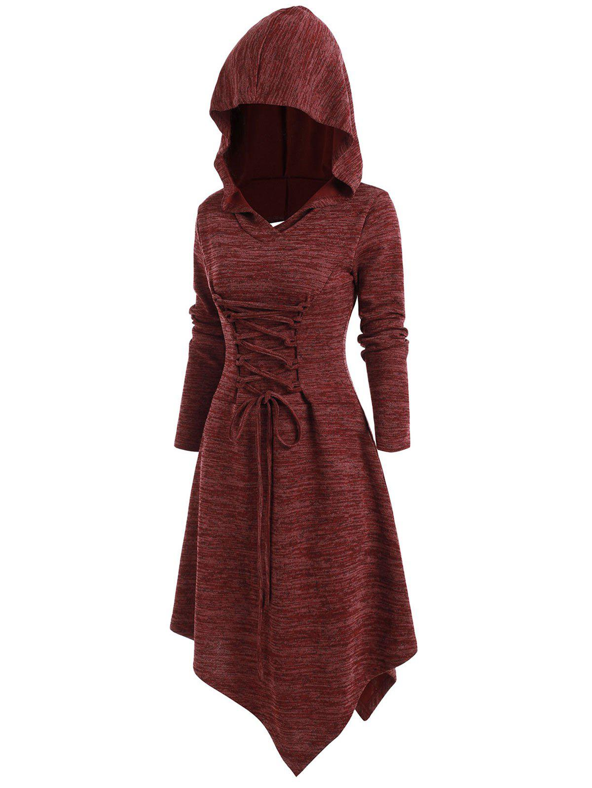 Online Lace Up Cut Out Asymmetric Hooded Dress