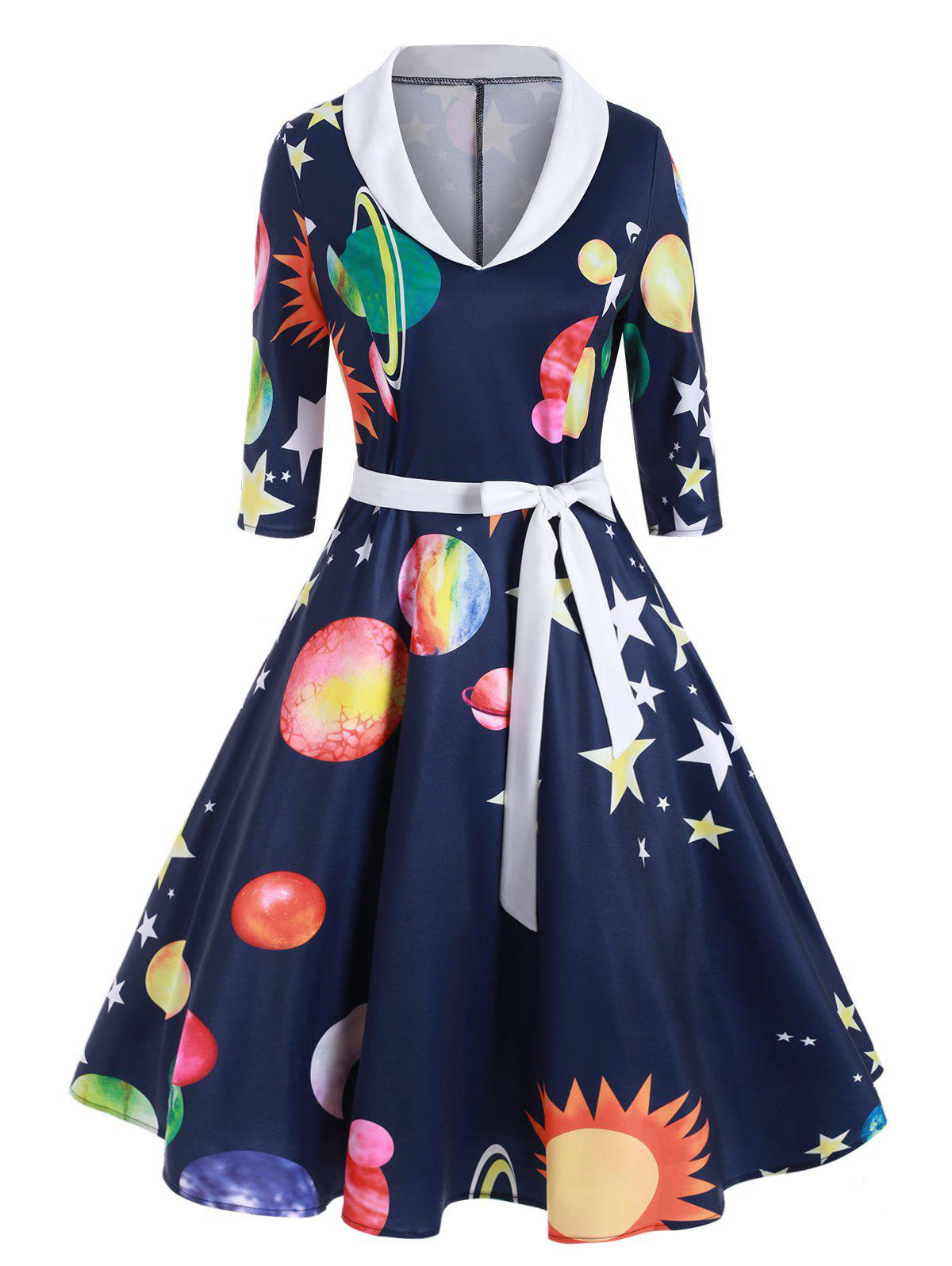 New Planet Sun Moon Print Shawl Collar Dress